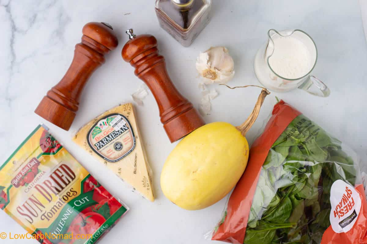 Sun Dried Tomatoes and Spinach Spaghetti Squash ingredients