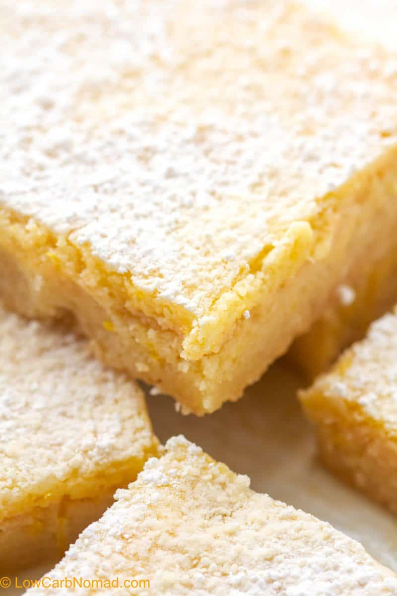 close up photo of low carb lemon bars