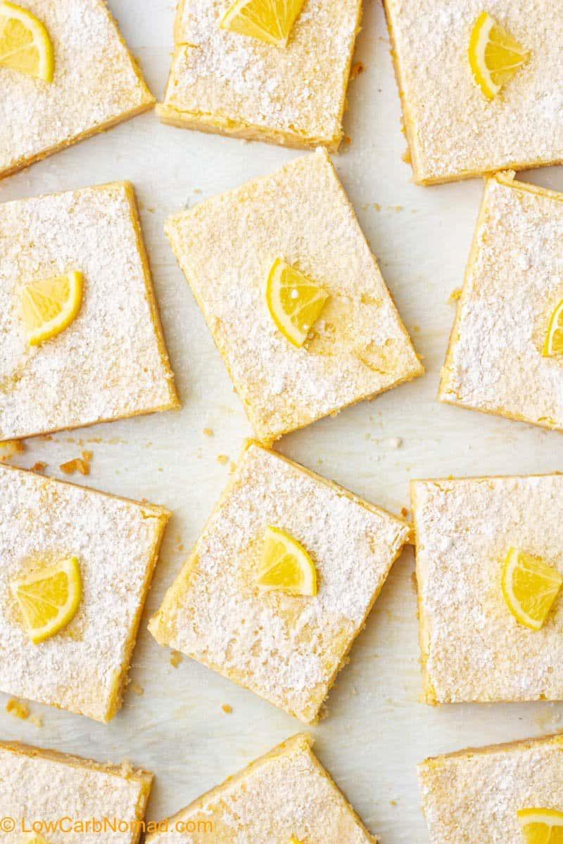 overhead shot of sugar free keto lemon bars