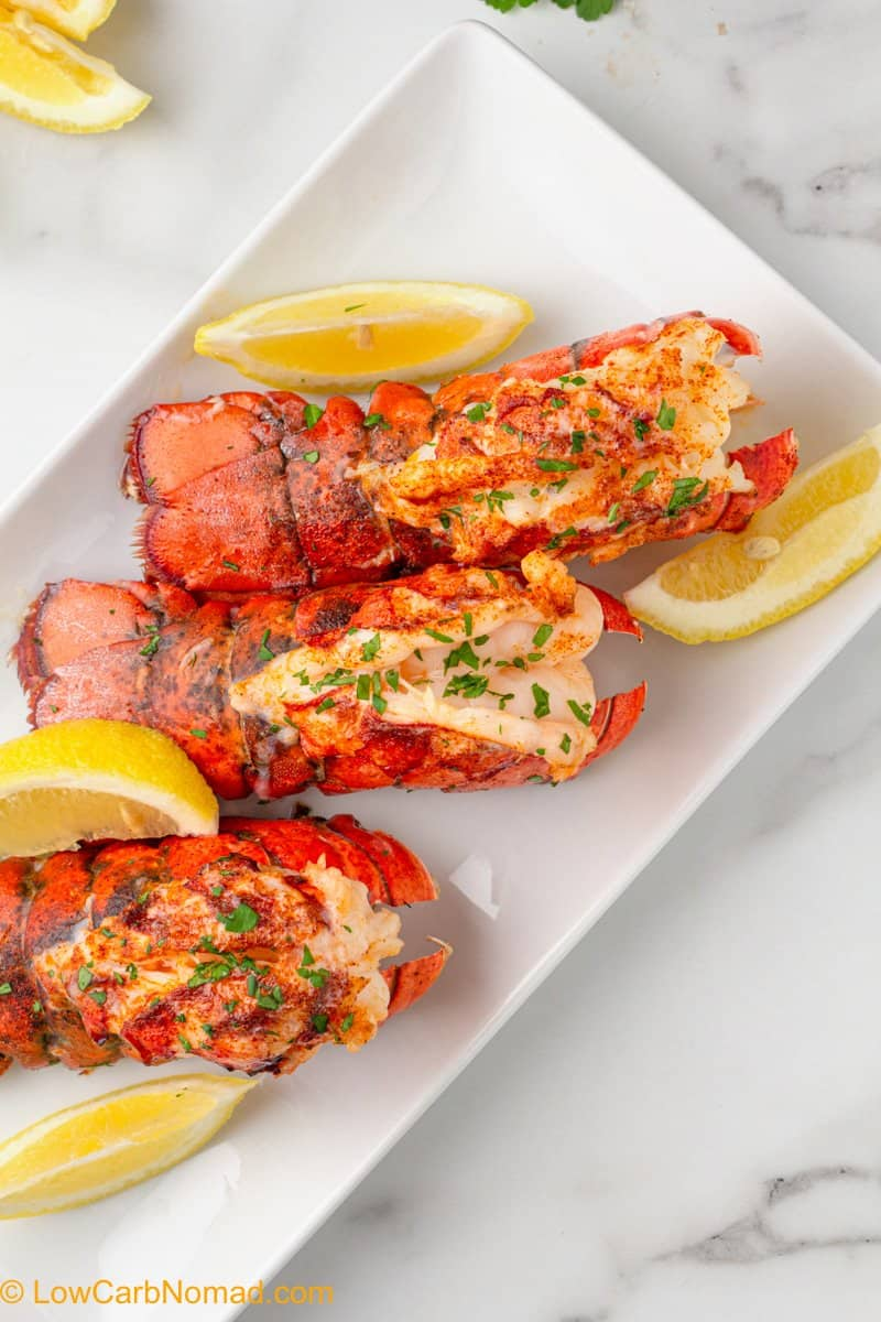Air Fryer Lobster Tails on a plate