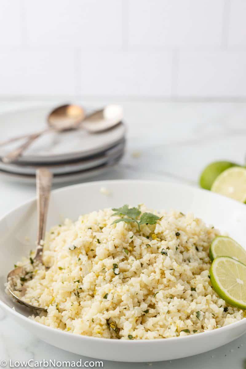 Large bowl of Cilantro Lime Cauliflower Rice