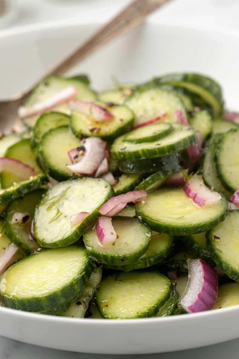 Dill Cucumber Salad close up photo