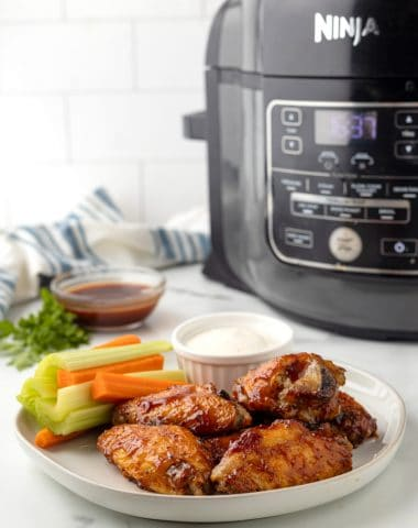 plate with sugar free BBQ Air fried wings