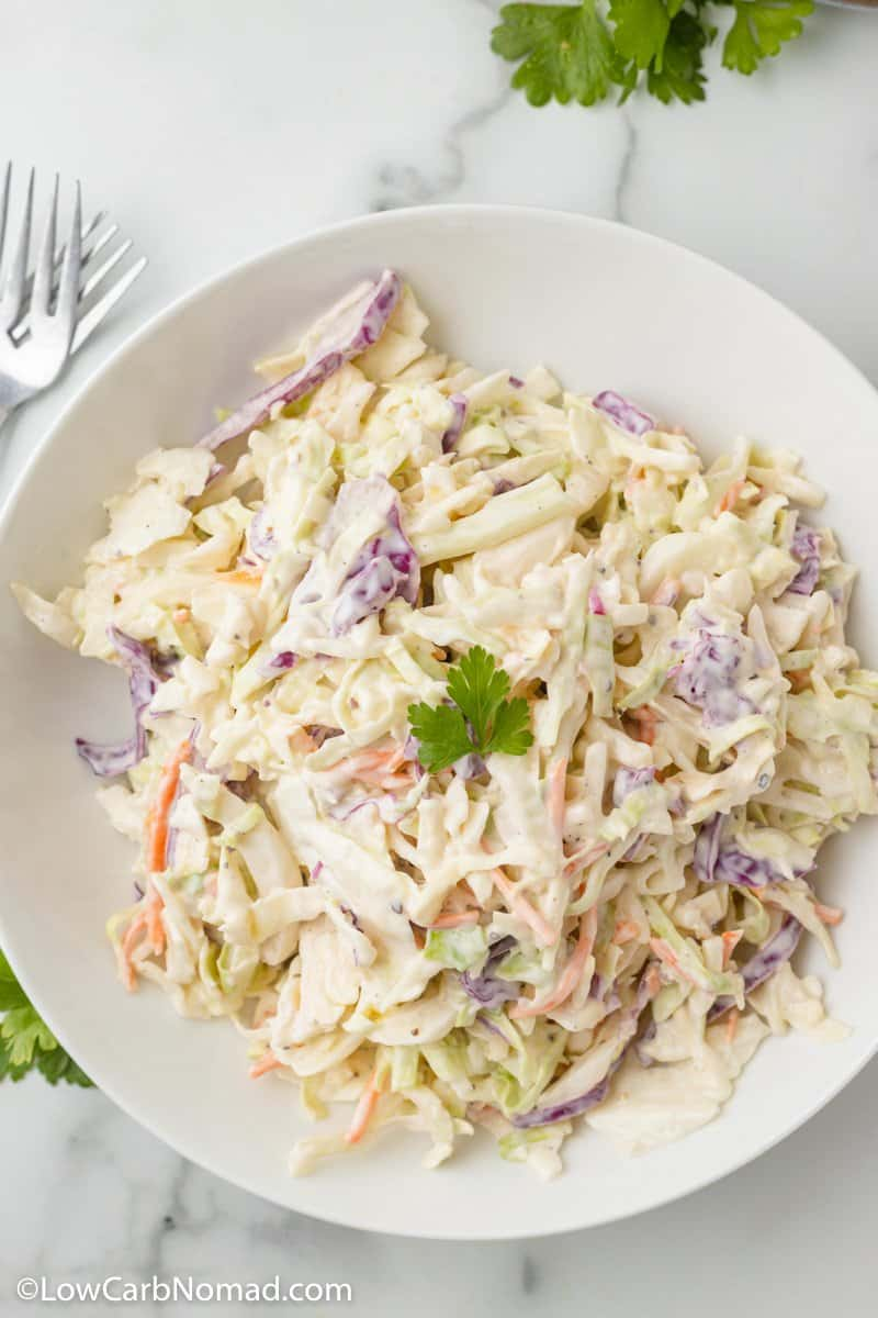overhead photo of keto slaw in a bow