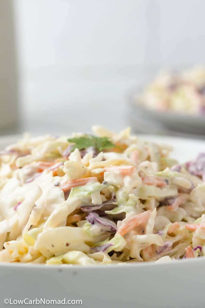 close up photo of low carb coleslaw in a bowl