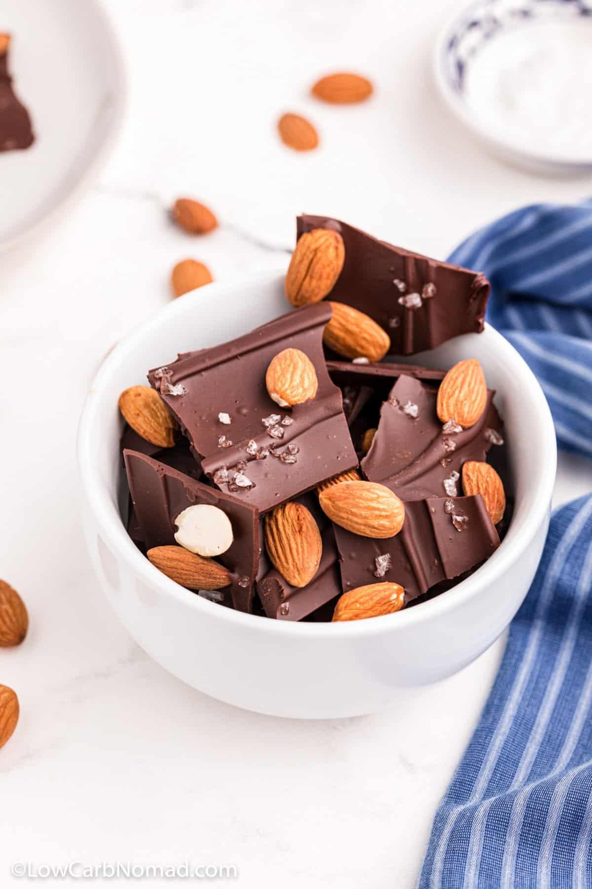 Low Carb chocolate Almond Bark