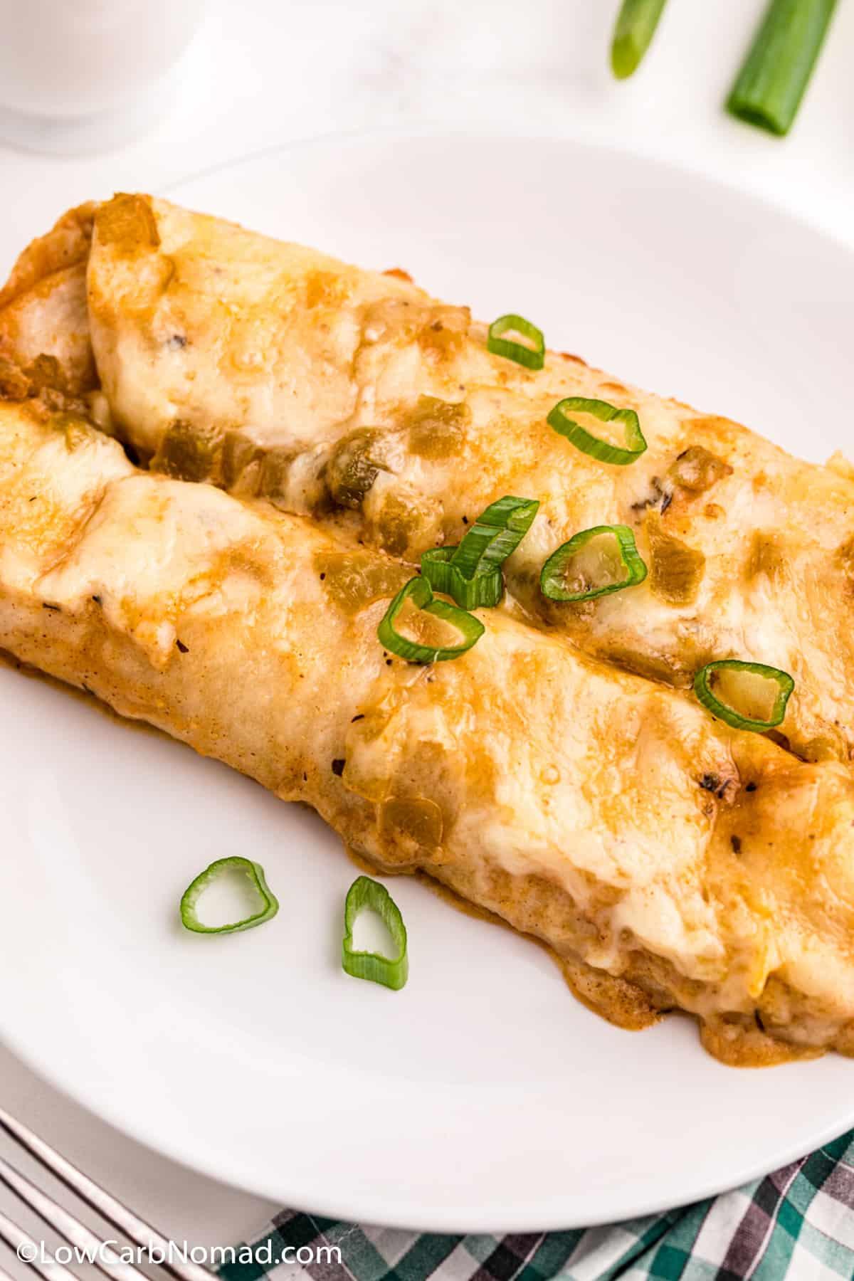 Low Carb white chicken enchiladas